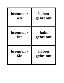 Present perfect Irregular verbs in German Concentration games