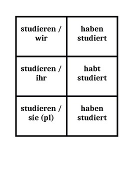 Present perfect Regular verbs in German Concentration games