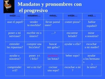 Present progressive with DO pronouns and mandatos/ Realida