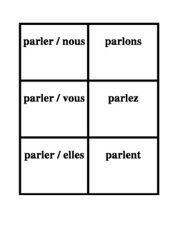 ER Verbs in French Verbes ER Present Tense Concentration Games