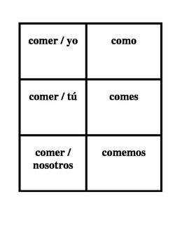 ER verbs in Spanish Present tense Concentration games
