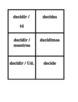 IR Spanish verbs Present tense Concentration games