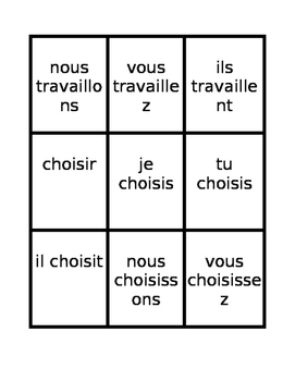 Present tense in French Spoons game / Uno game