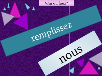 French Regular Present tense Verb Review game