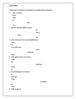 Present tense in French worksheet 4