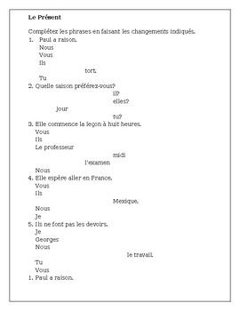 French Present Tense Irregular and Spelling Change Verbs Worksheet 2