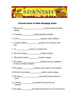 Present tense of stem changing verbs