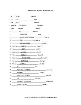 Present tense regular IR Verbs Test