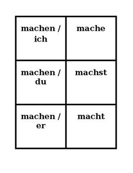 German Present Tense Regular Verbs Concentration Games