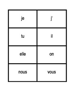 Present tense verb conjugator cards in French