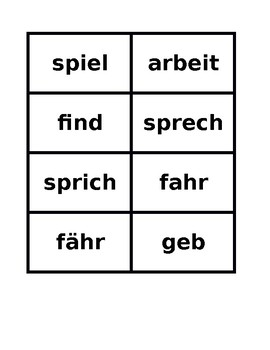 Present tense verb conjugator cards in German