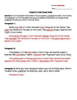 Verbs: Present to Past Tense Verbs