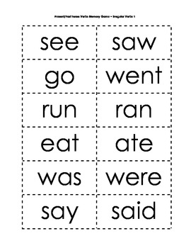 Verbs: Present/Past Tense Verbs Memory Games (6 included)