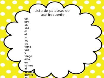 Presentación de las palabras de uso frecuente