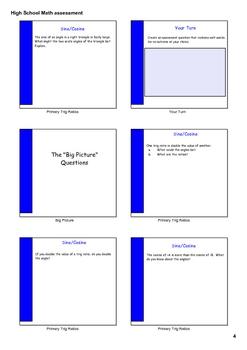Presentation-High School Math Assessment Handout