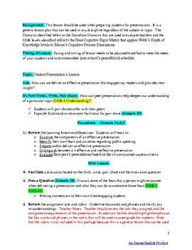 Presentation Lesson and Graphic Organizer For Any Subject