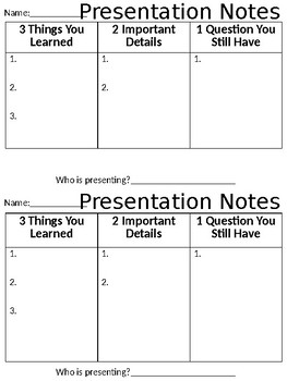 Presentation Notes (For Students)