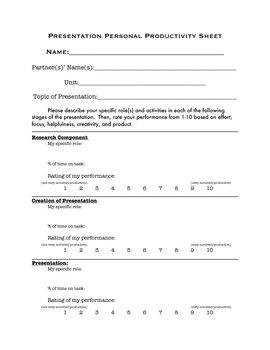 Presentation Personal Productivity Sheet