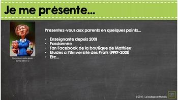 Présentation PowerPoint pour la rencontre de parents