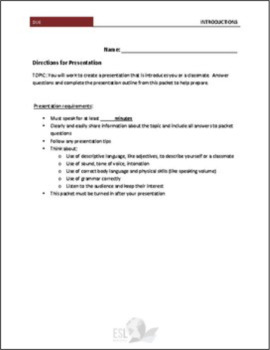 Presentation Project Packet - Introductions (All About Me or Classmate)