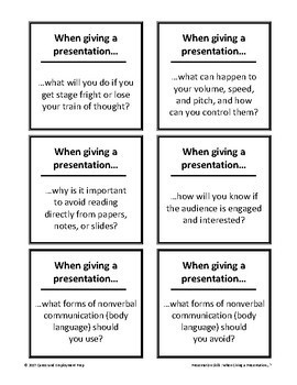 Presentation Skills Card Set Group Activity