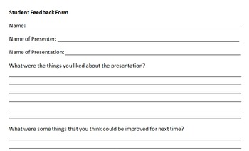 Presentation Student Feedback Form