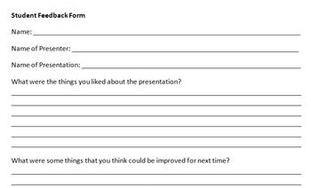 Presentation Student Feedback Form
