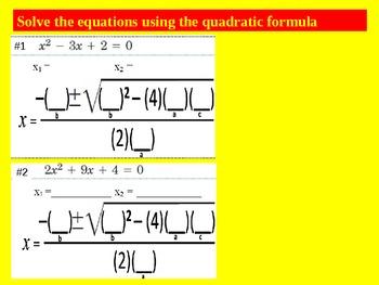 Presentation on Factoring, Discriminant and Quadratic Formula