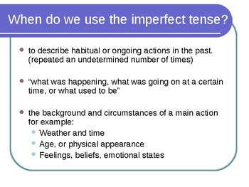Presentation on the Imperfect Tense in Spanish