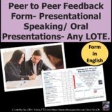 Peer to Peer Feedback Form Presentational Speaking Oral Pr