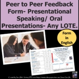 Presentational Speaking Peer Review Form for any language