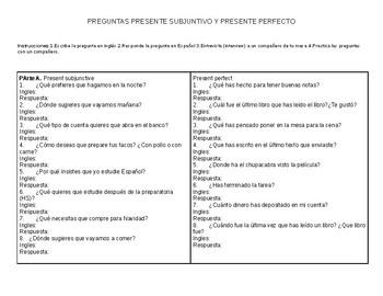 Presente perfecto y presente subjuntivo