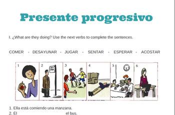 Presente progresivo practica / Present progressive practice.