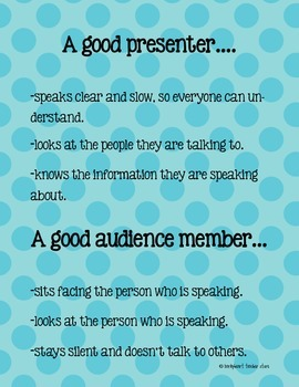 Presenter/Audience Skills Poster