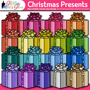 Christmas Present Clip Art {Birthday Gift Box Graphics for