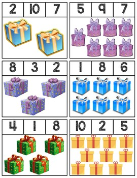 Presents Clip Cards | Numbers 1-10