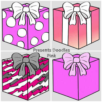 Presents Doodles (BW and full-color PNG images)