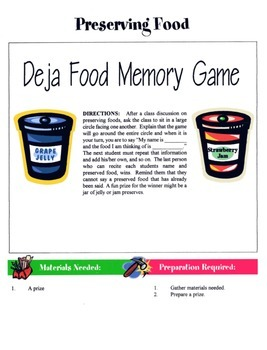 Preserving Foods Game / Activity
