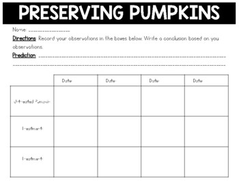 Preserving Pumpkins: A Fall Themed Science Investigation