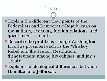 Presidency of George Washington PowerPoint for Middle and High School History