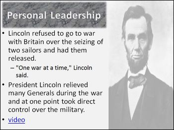 Presidency of Lincoln Differentiated Instruction PowerPoint