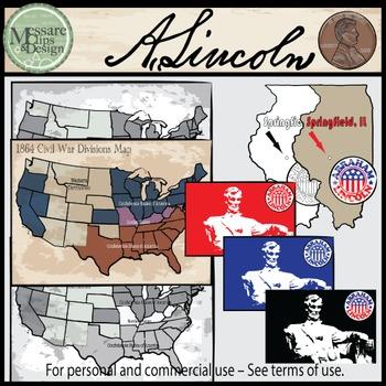 President Abraham Lincoln Clip Art {Messare Clips and Design}
