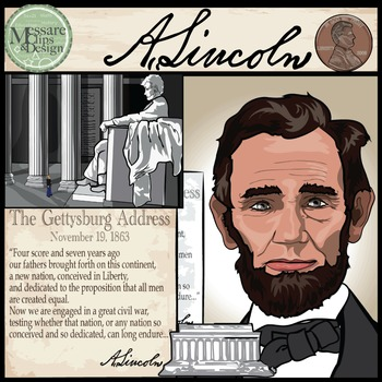 President Abraham Lincoln Clip Art {Messare Clips and Design}