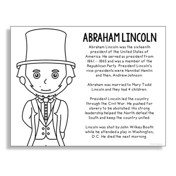 President Abraham Lincoln Coloring Page Craft or Poster with Mini Biography
