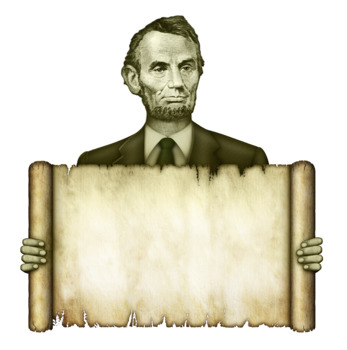 President Abraham Lincoln Holding A Blank Scroll
