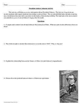 President Andrew Johnson Interview Activity