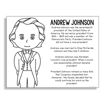 President Andrew Johnson Coloring Page Craft or Poster with Mini Biography