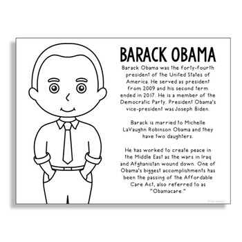 President Barack Obama Coloring Page Craft or Poster with Mini Biography