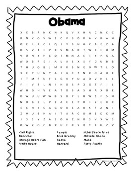 President Barack Obama Puzzle Pack- cipher, cryptogram, trivia, word search