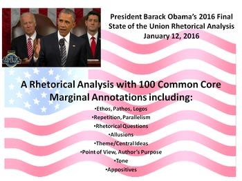 President Barack Obama's 2016 State of the Union Speech – Rhetorical Analysis